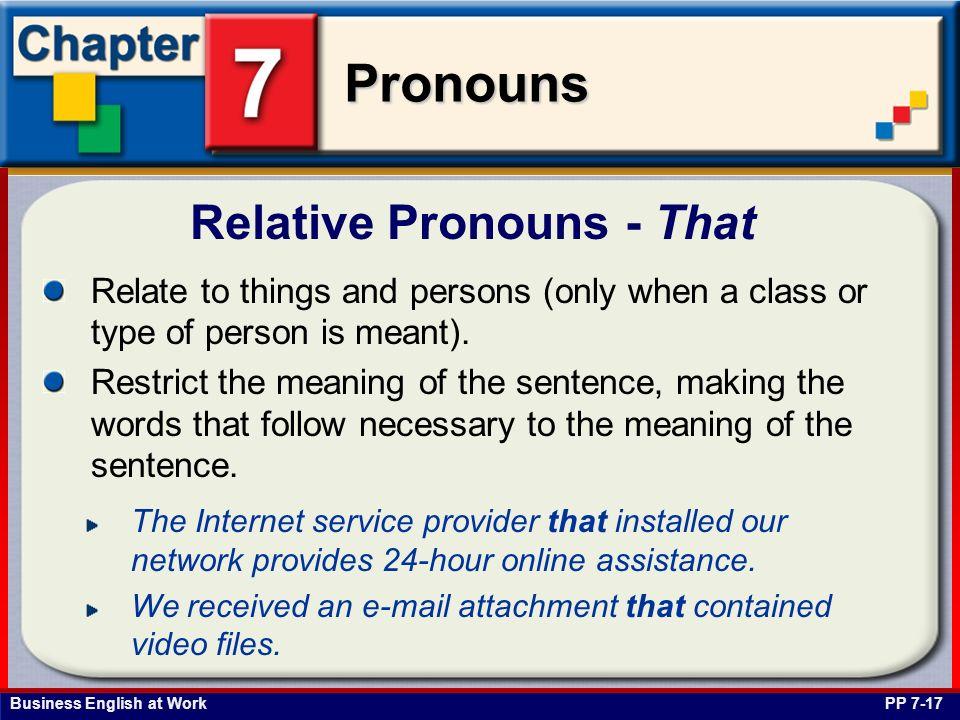 Relative Pronouns - That