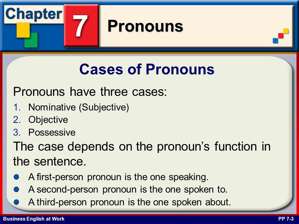 Cases of Pronouns Pronouns have three cases: