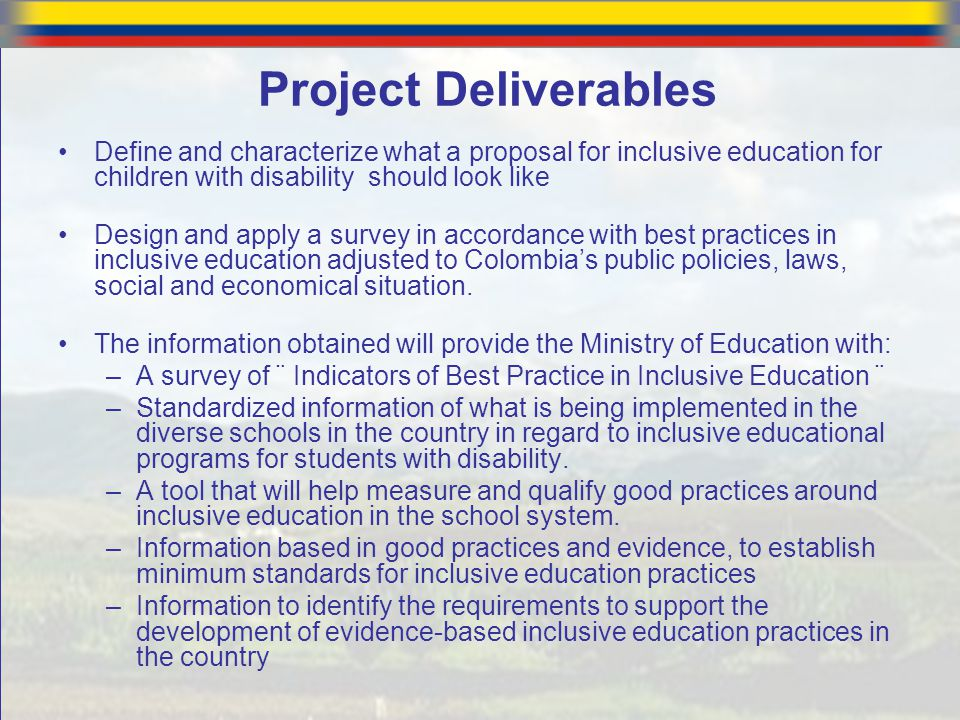 Project Deliverables Define and characterize what a proposal for inclusive education for children with disability should look like.