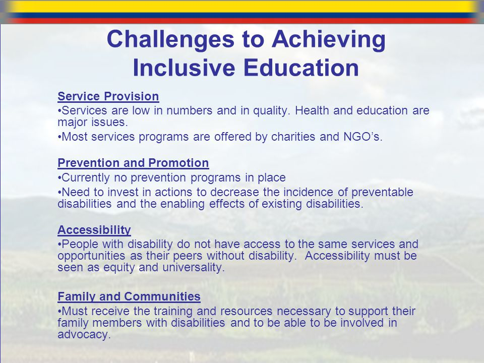 Challenges to Achieving Inclusive Education