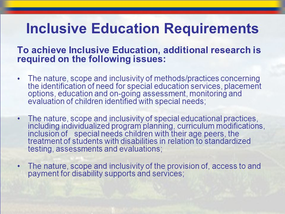 Inclusive Education Requirements