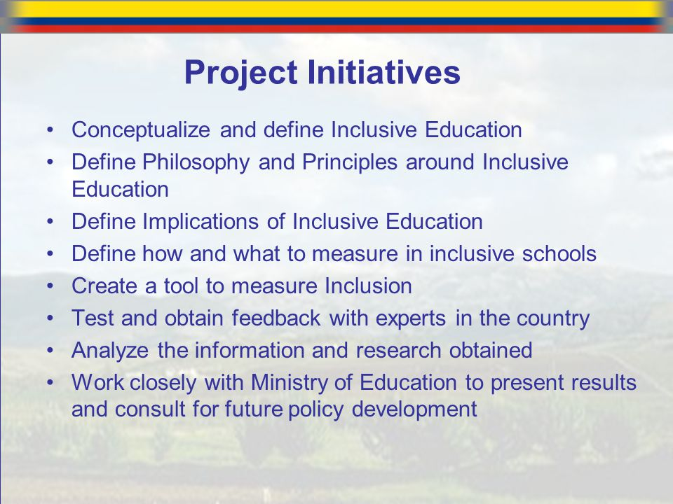 Project Initiatives Conceptualize and define Inclusive Education