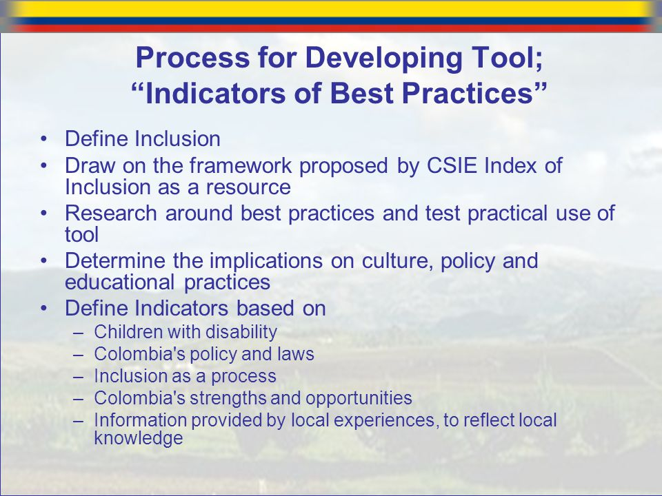 Process for Developing Tool; Indicators of Best Practices