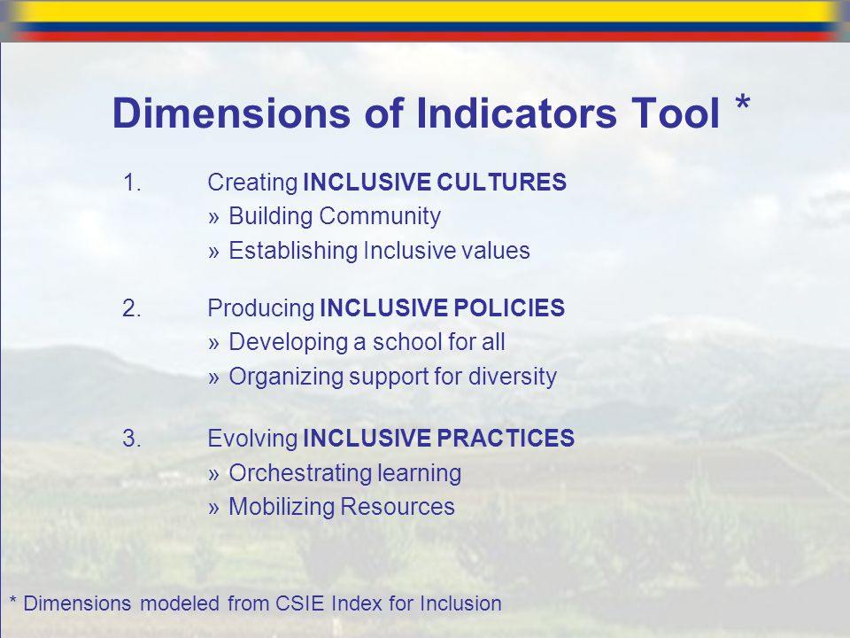 Dimensions of Indicators Tool *