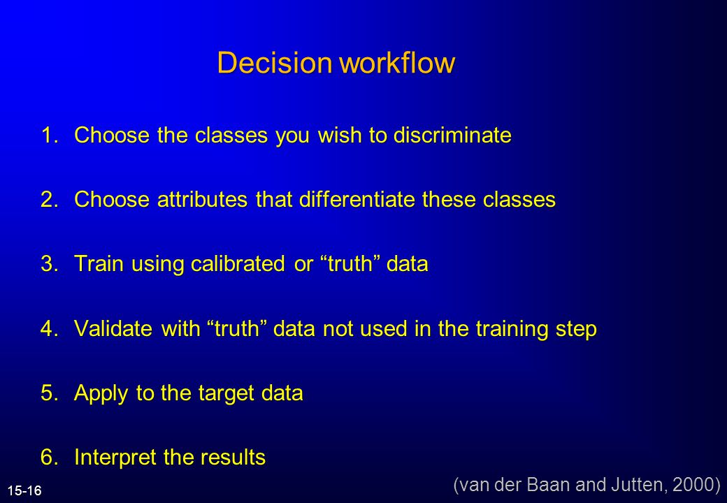 Decision workflow Choose the classes you wish to discriminate