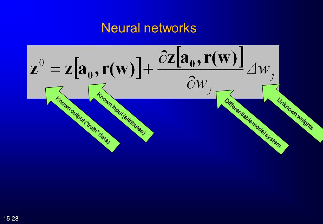Neural networks Known input (attributes) Unknown weights