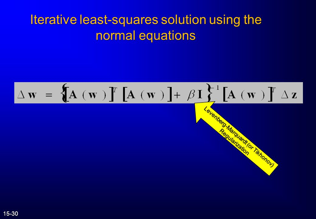 Iterative least-squares solution using the normal equations