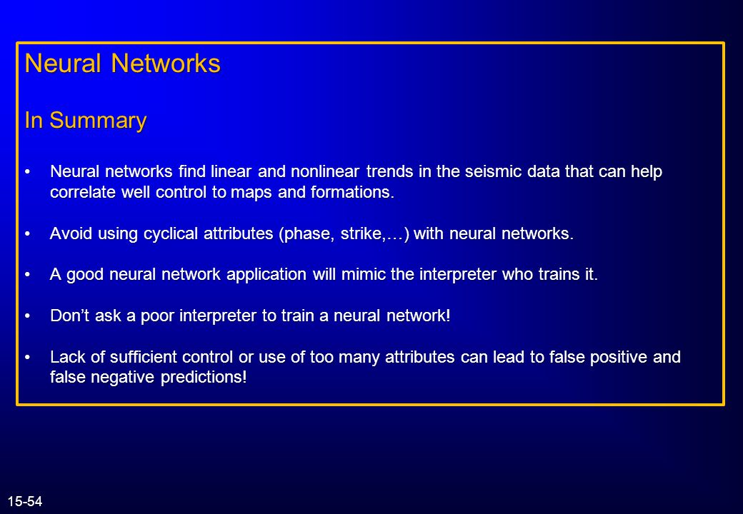 Neural Networks In Summary