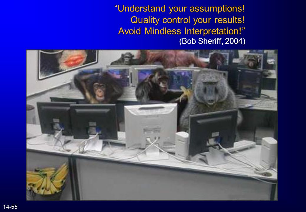 Understand your assumptions. Quality control your results