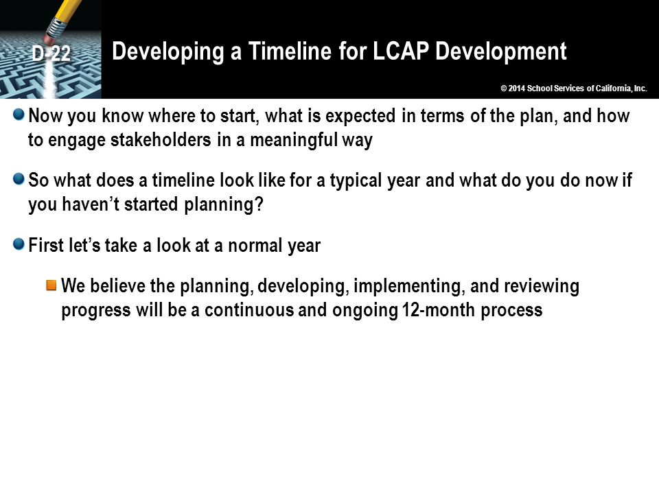 Developing a Timeline for LCAP Development