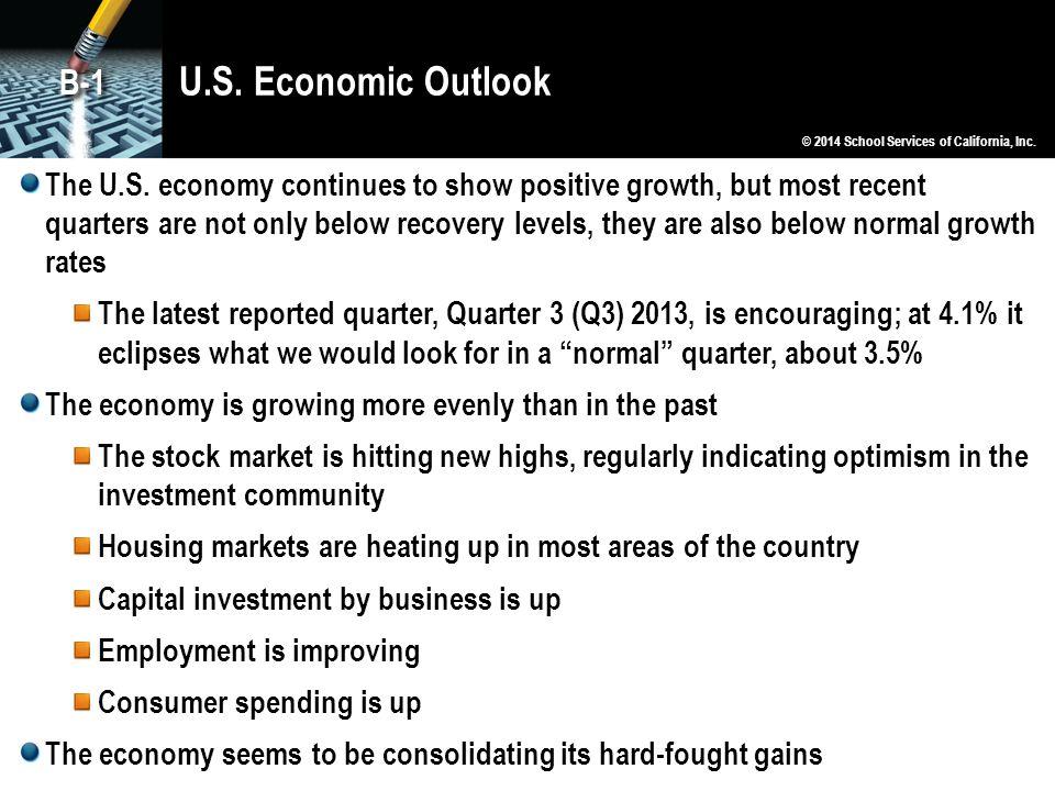 U.S. Economic Outlook B-1. © 2014 School Services of California, Inc.