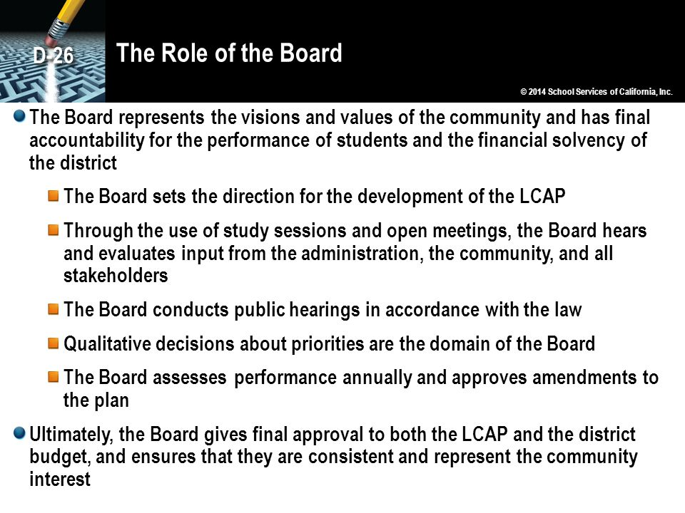 The Role of the Board D-26. © 2014 School Services of California, Inc.