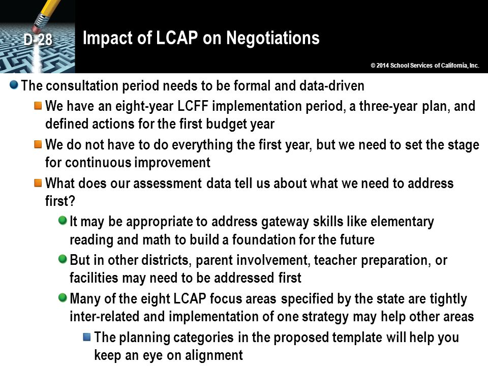 Impact of LCAP on Negotiations