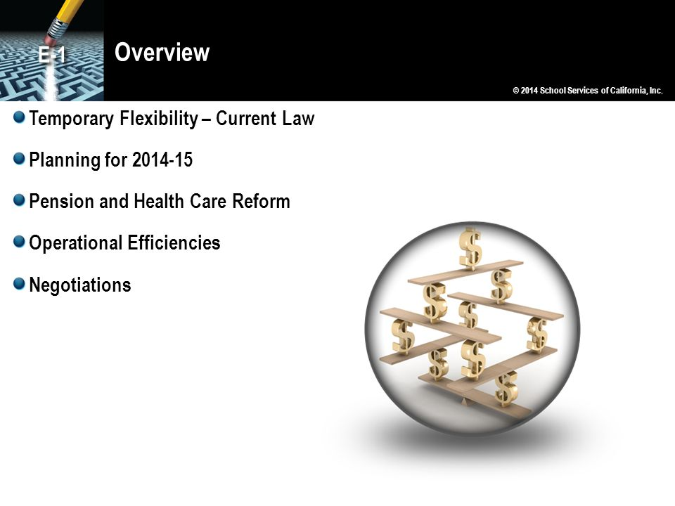 Overview E-1 Temporary Flexibility – Current Law Planning for 2014-15