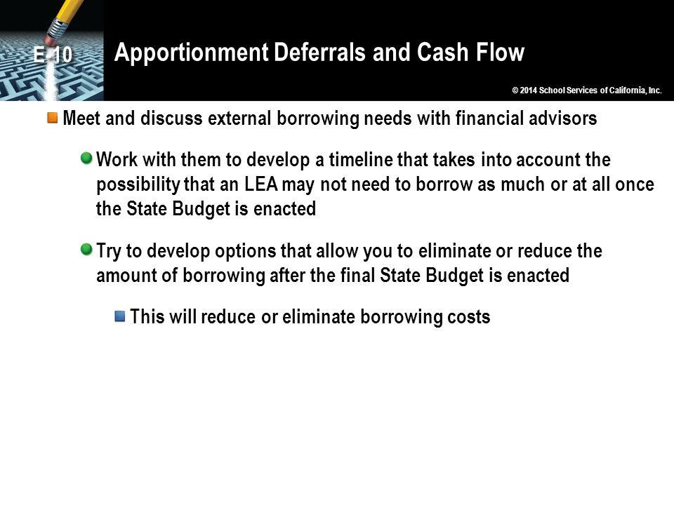 Apportionment Deferrals and Cash Flow