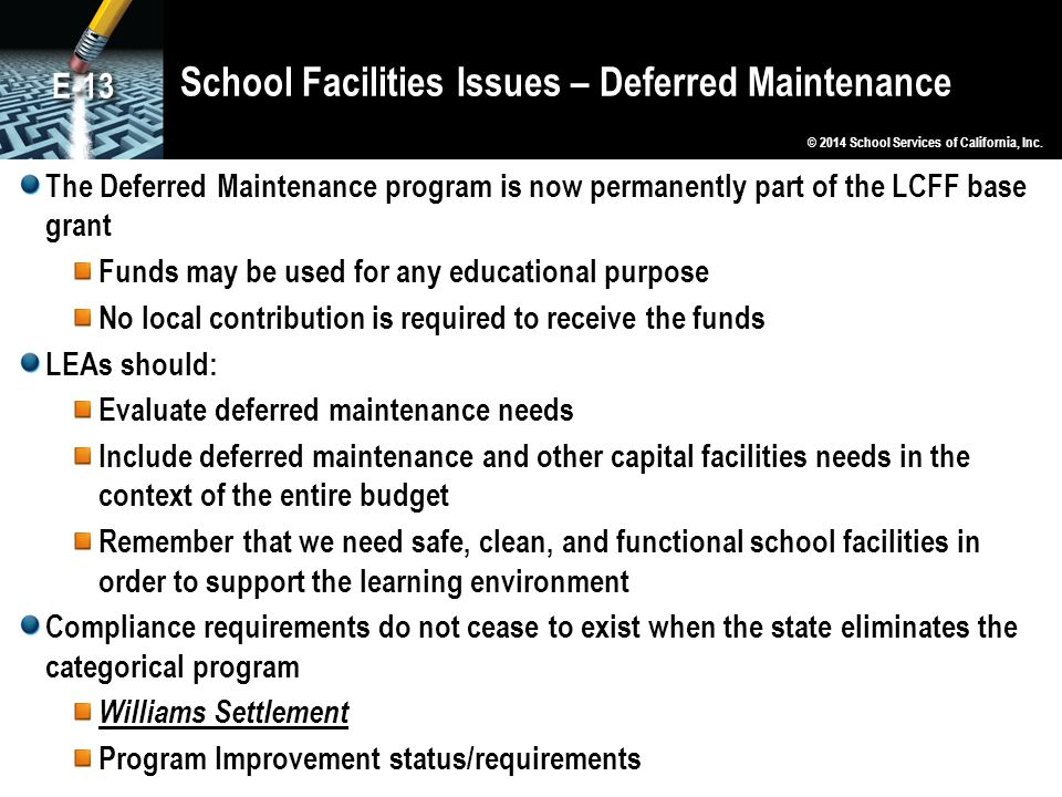 School Facilities Issues – Deferred Maintenance