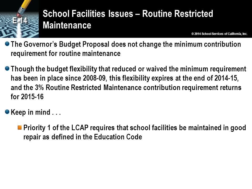 School Facilities Issues – Routine Restricted Maintenance