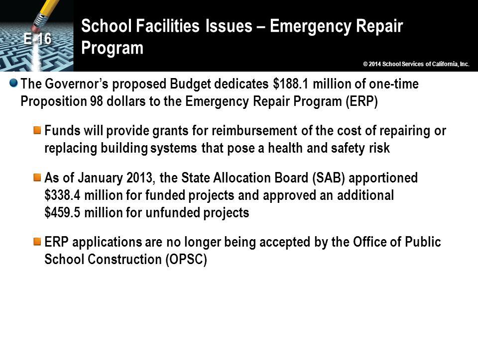 School Facilities Issues – Emergency Repair Program