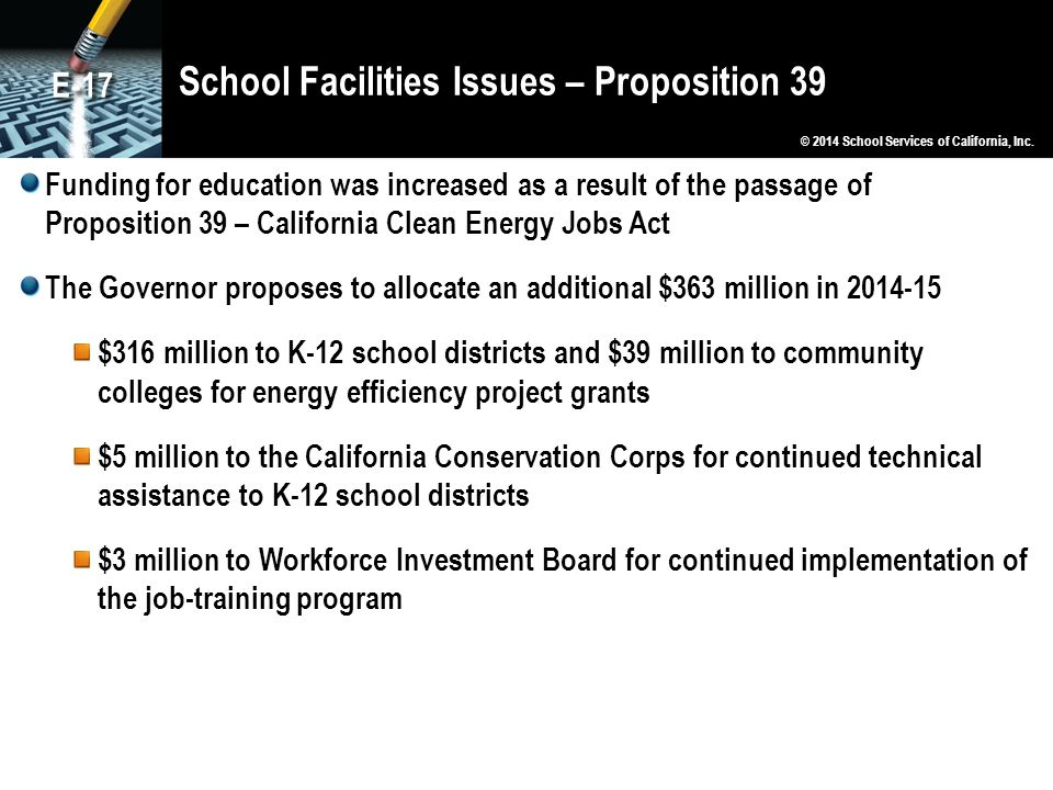 School Facilities Issues – Proposition 39