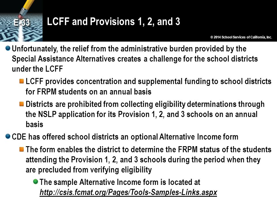 LCFF and Provisions 1, 2, and 3