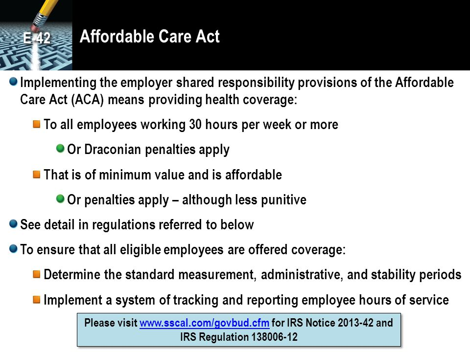Affordable Care Act E-42.