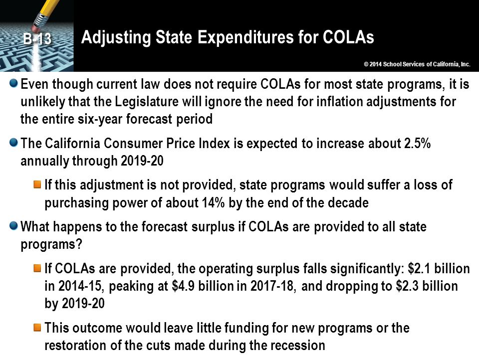 Adjusting State Expenditures for COLAs