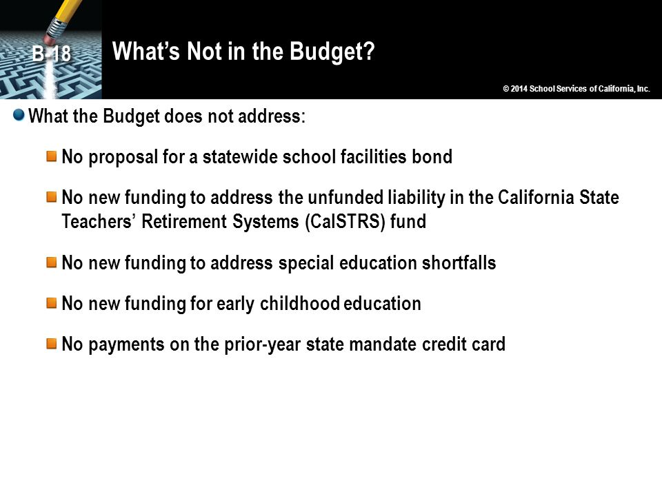 What's Not in the Budget