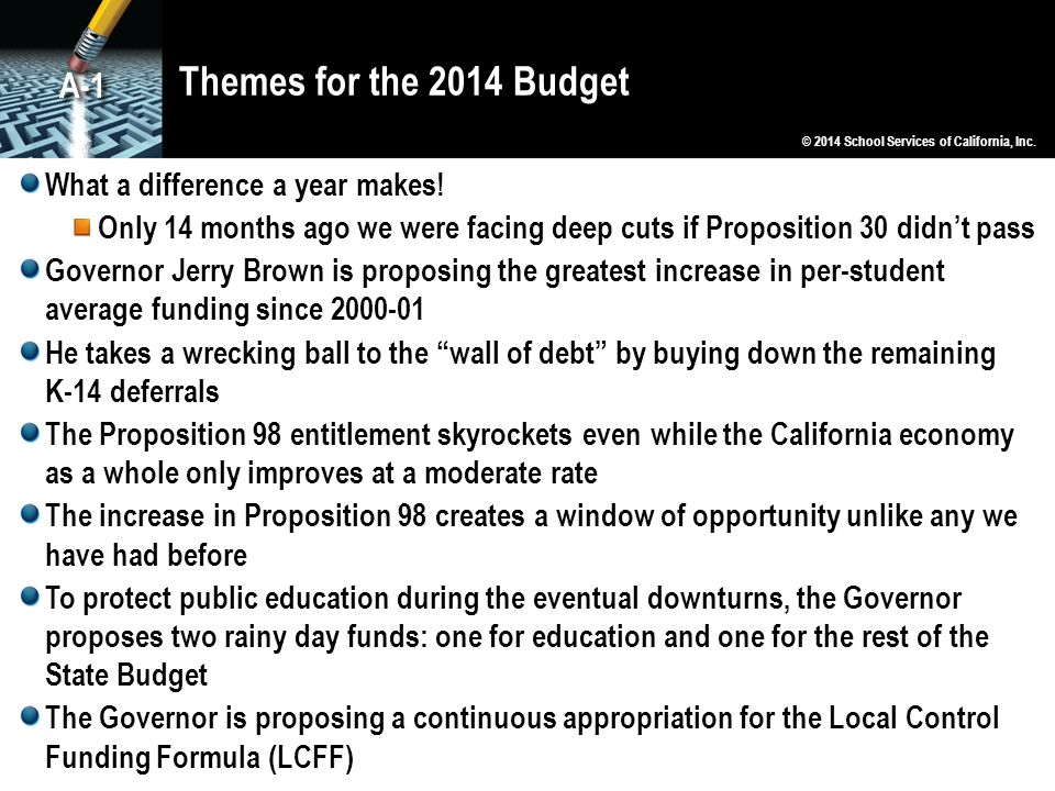Themes for the 2014 Budget A-1 What a difference a year makes!