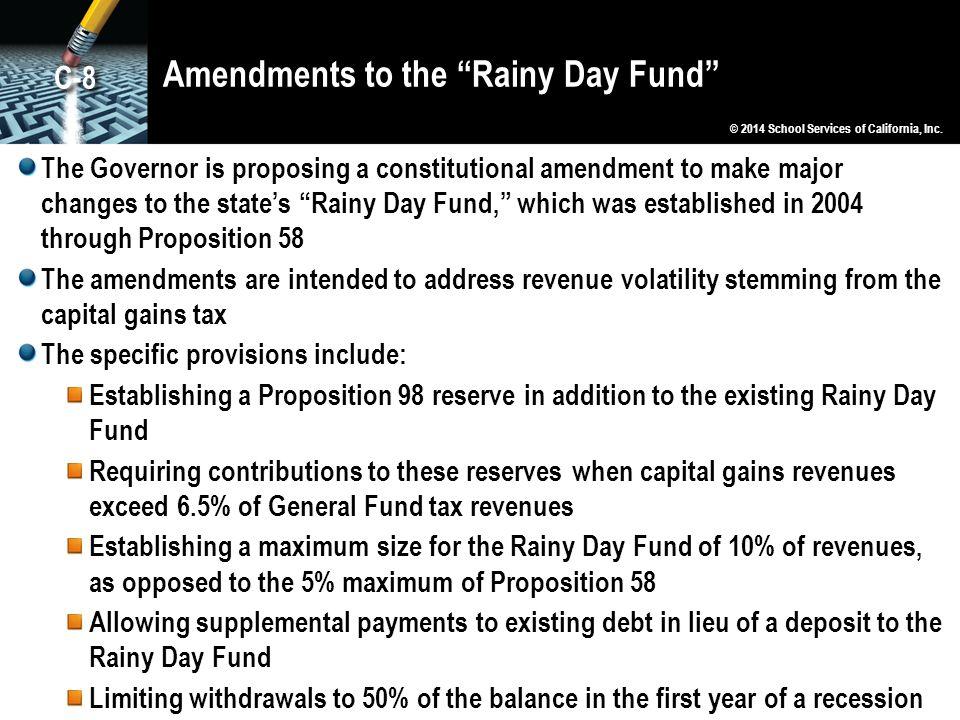 Amendments to the Rainy Day Fund