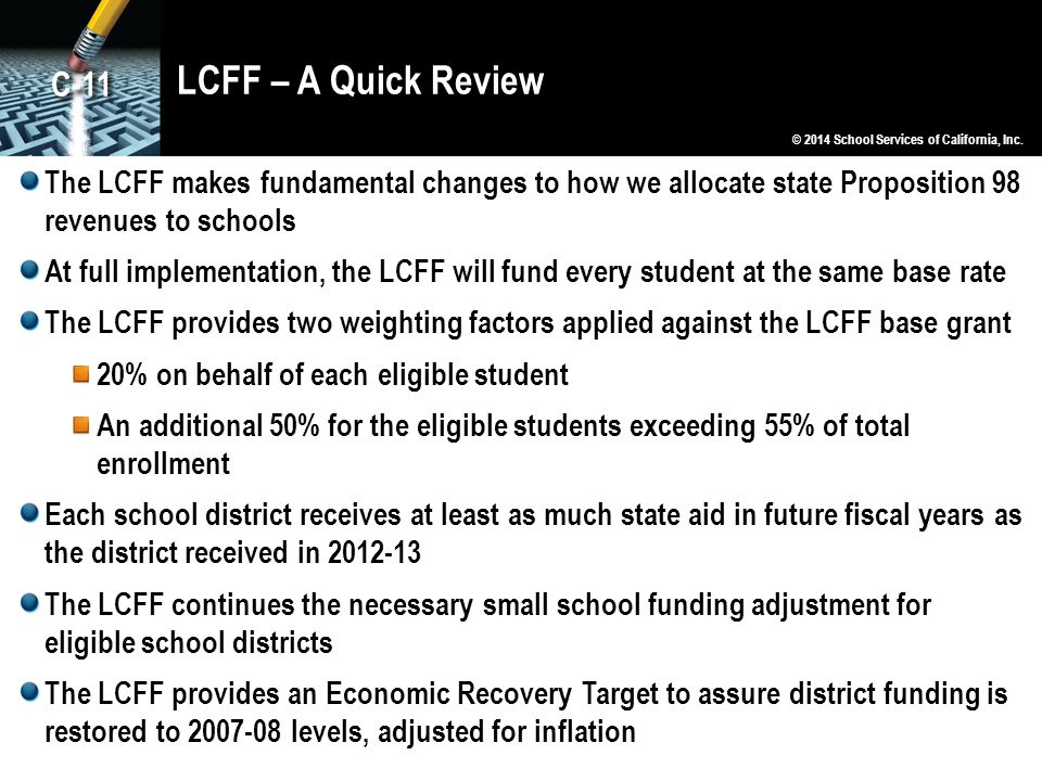 LCFF – A Quick Review C-11. © 2014 School Services of California, Inc.