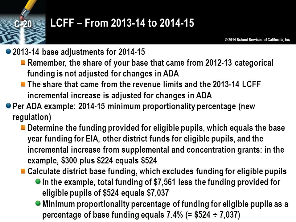 LCFF – From 2013-14 to 2014-15 C-20. © 2014 School Services of California, Inc. 2013-14 base adjustments for 2014-15.