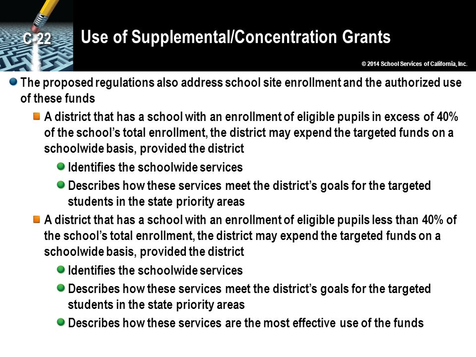 Use of Supplemental/Concentration Grants