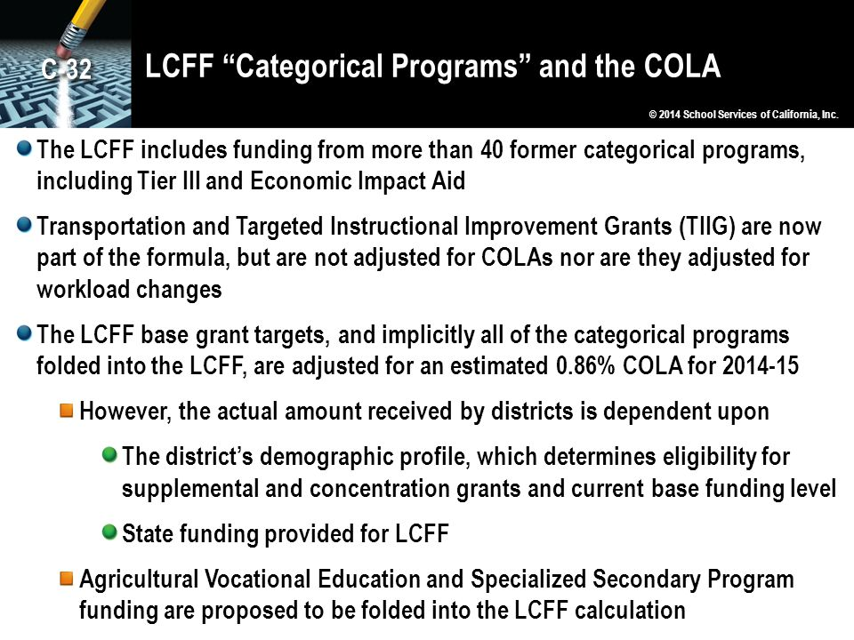 LCFF Categorical Programs and the COLA