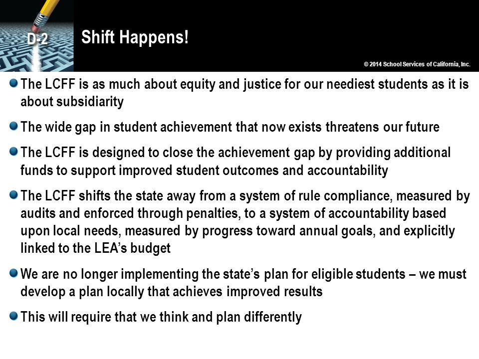 Shift Happens! D-2. © 2014 School Services of California, Inc.
