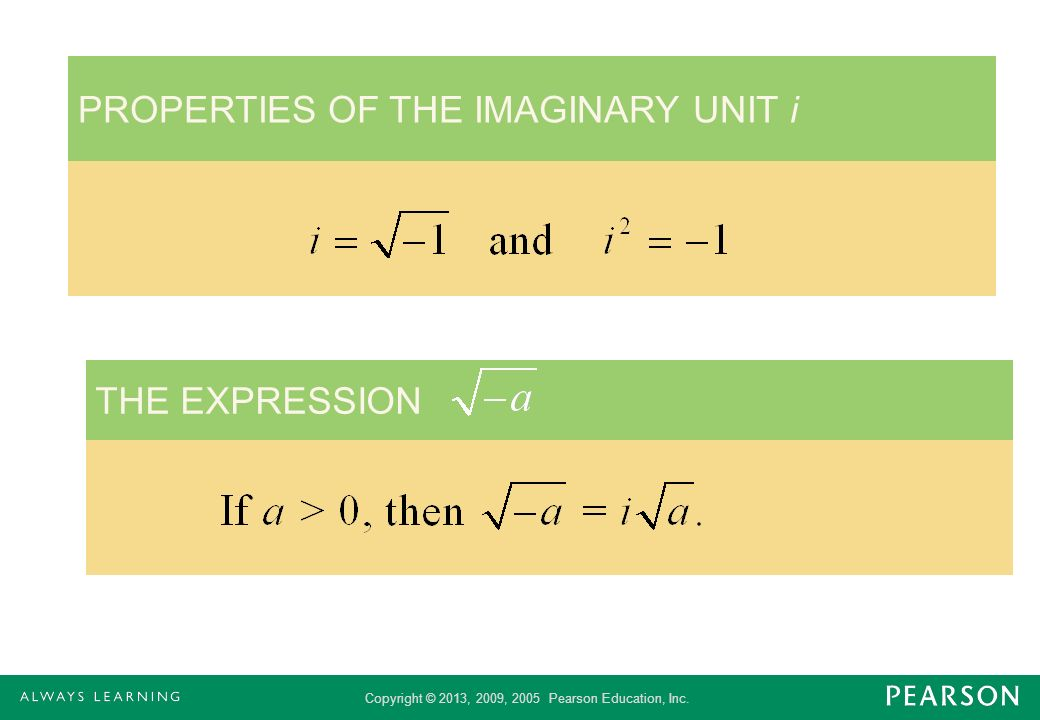 PROPERTIES OF THE IMAGINARY UNIT i
