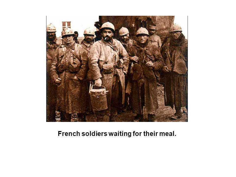 French soldiers waiting for their meal.