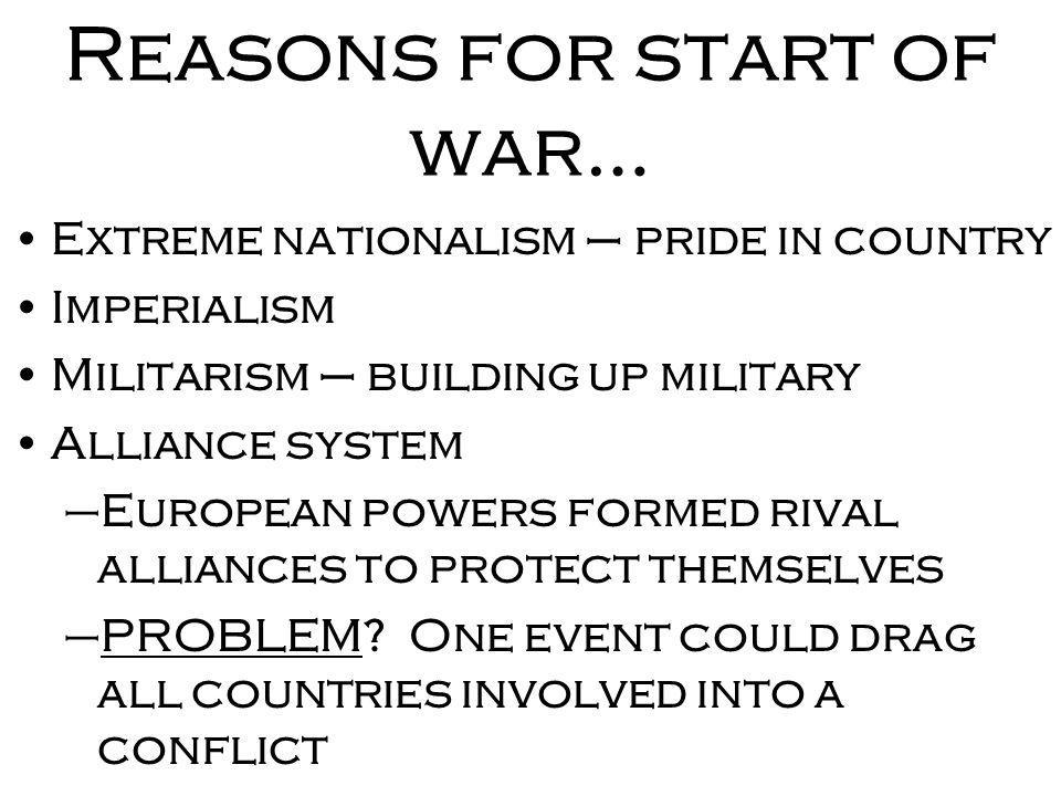 Reasons for start of war…