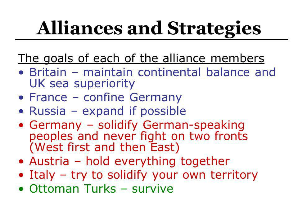 Alliances and Strategies