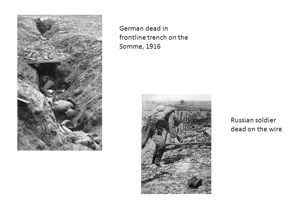 German dead in frontline trench on the Somme, 1916