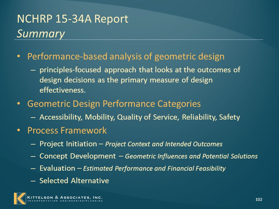 NCHRP 15-34A Report Summary