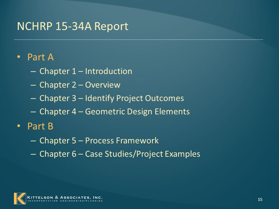 NCHRP 15-34A Report Part A Part B Chapter 1 – Introduction