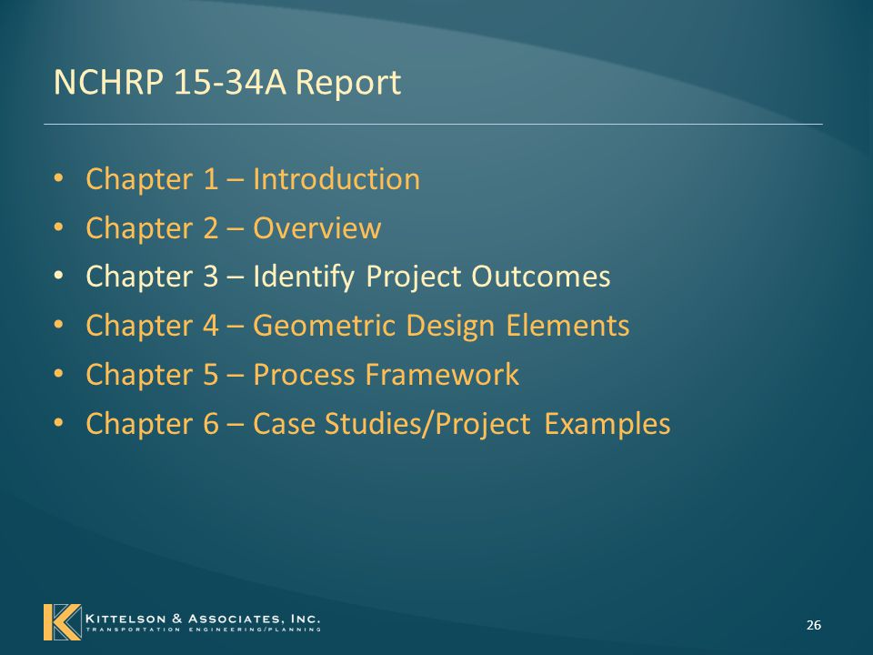 NCHRP 15-34A Report Chapter 1 – Introduction Chapter 2 – Overview