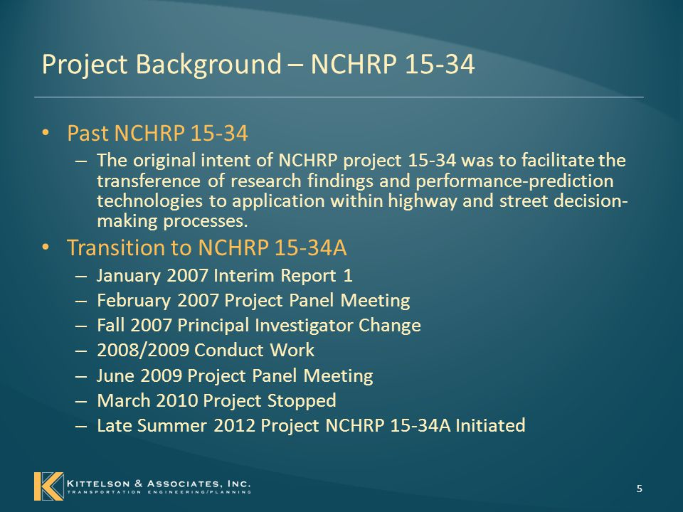 Project Background – NCHRP 15-34