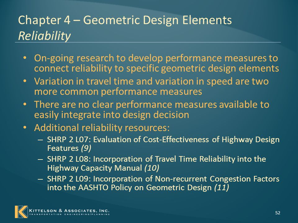 Chapter 4 – Geometric Design Elements Reliability