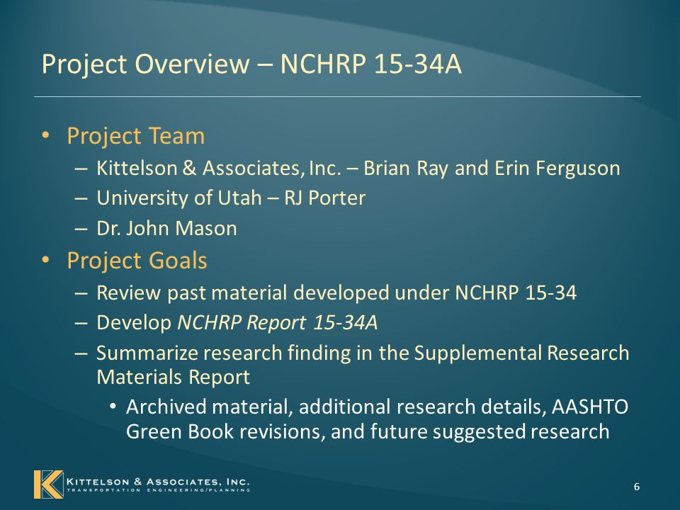 Project Overview – NCHRP 15-34A