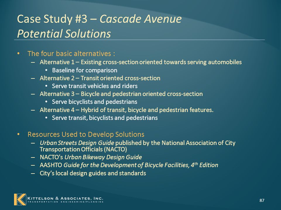 Case Study #3 – Cascade Avenue Potential Solutions