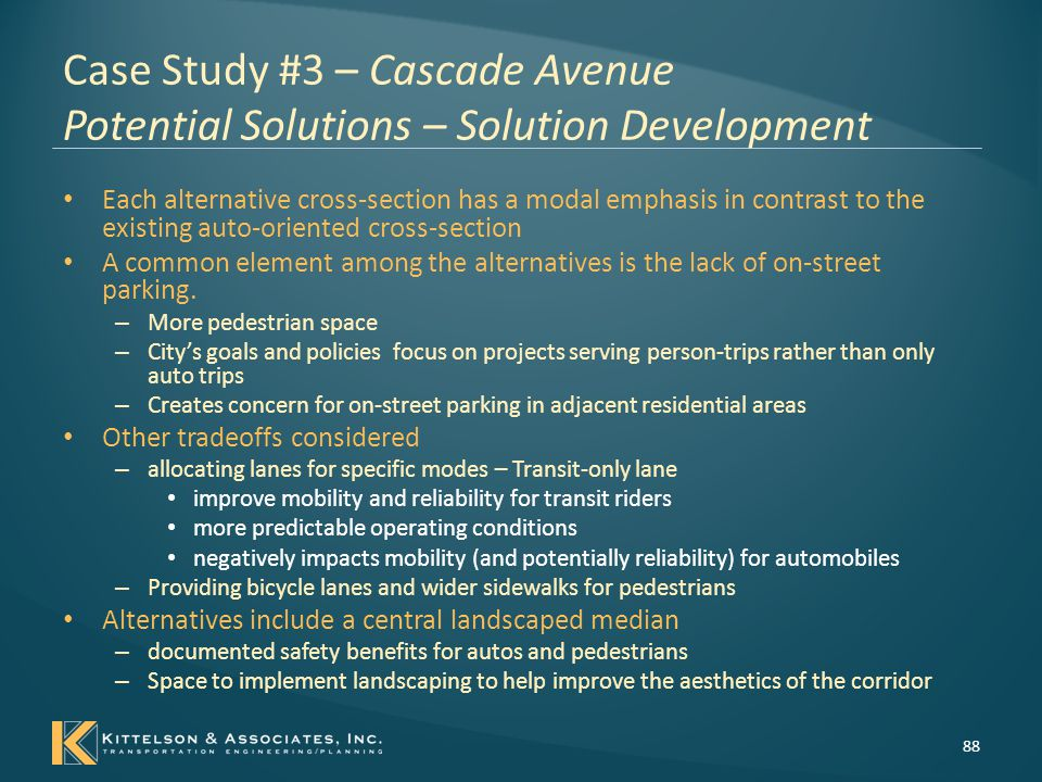 Case Study #3 – Cascade Avenue Potential Solutions – Solution Development