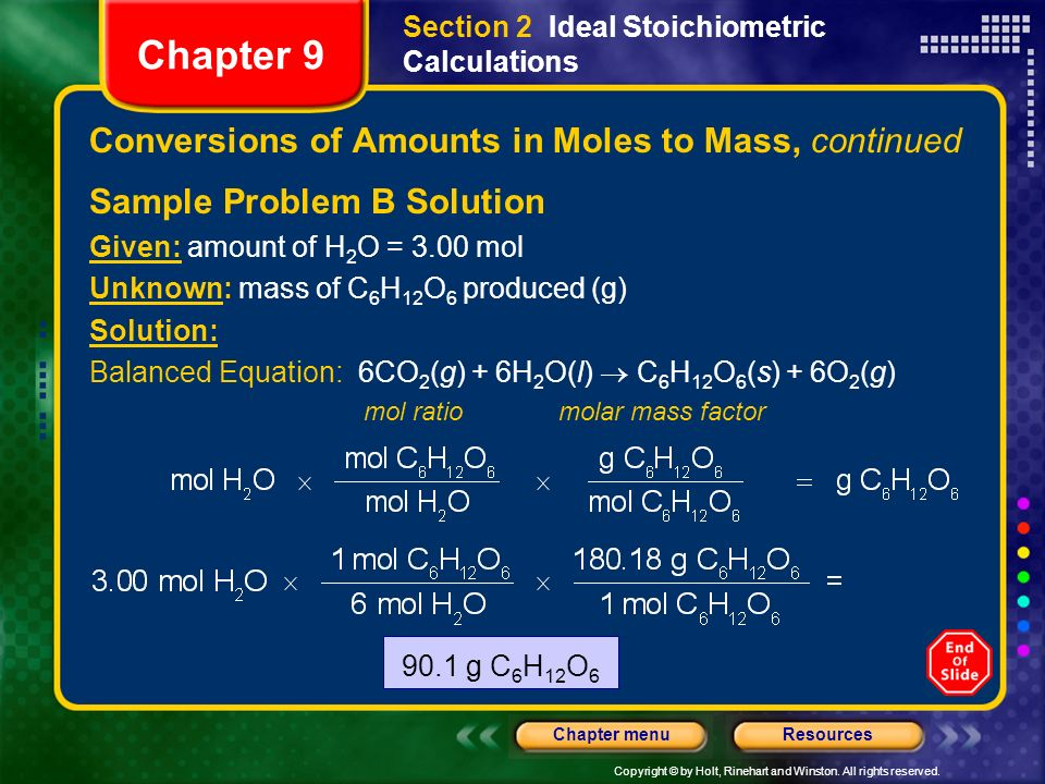 Conversions of Amounts in Moles to Mass, continued