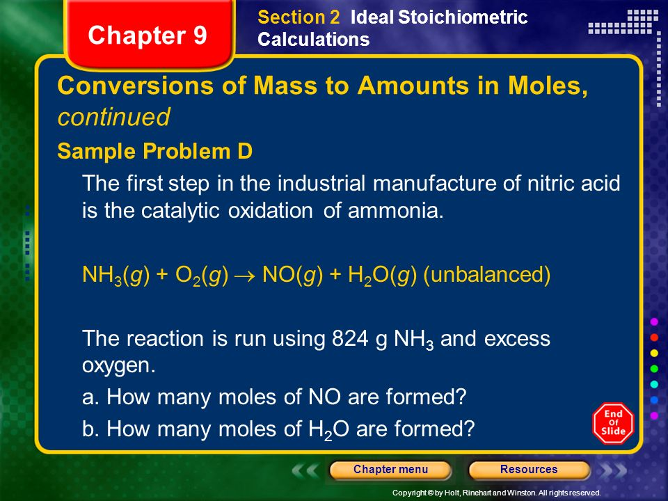 Conversions of Mass to Amounts in Moles, continued
