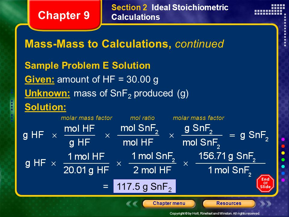 Mass-Mass to Calculations, continued